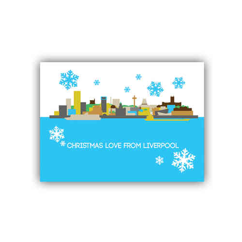 Cityscape Liverpool christmas card