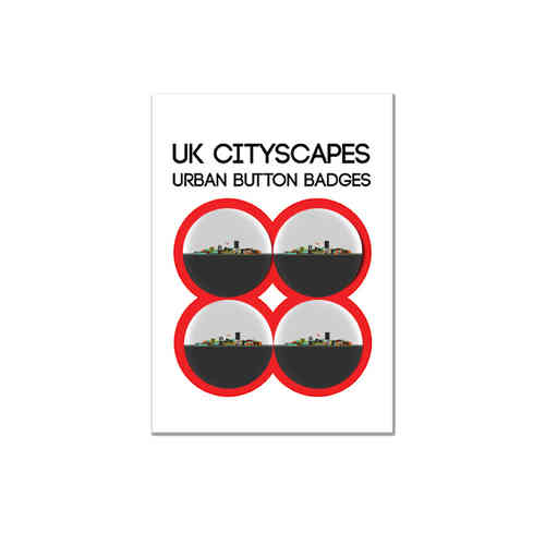Cityscape Manchester badge multipack of four