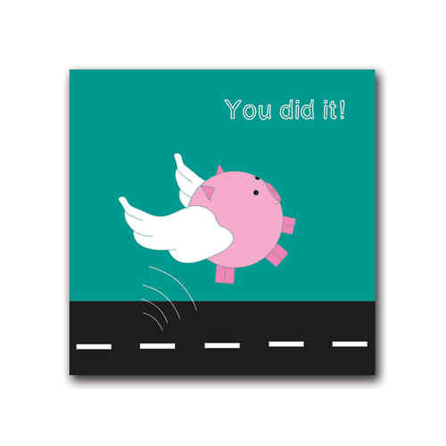 Playful pig you did it card