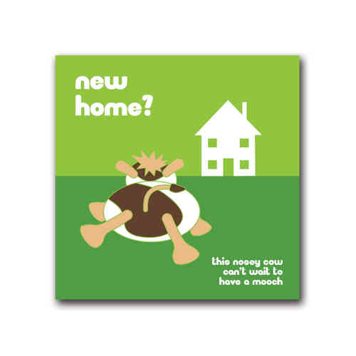 Moody cow new home card