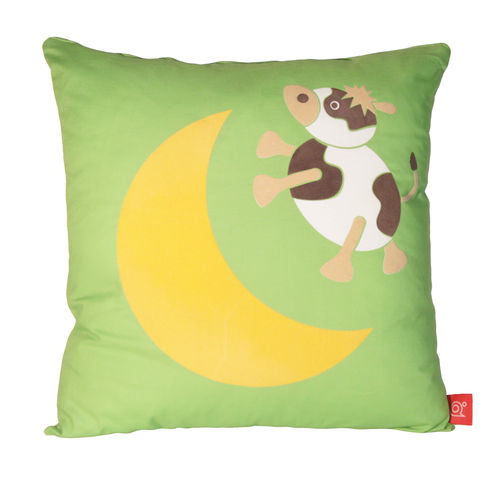 Moody cow over the moon cushion