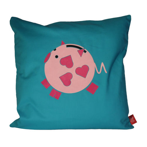 Playful pig piggy bank cushion