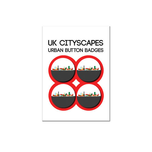 Cityscape Birmingham badge multipack of four