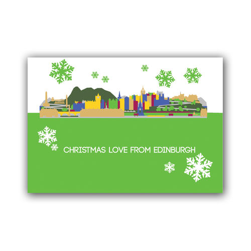Cityscape Edinburgh christmas card