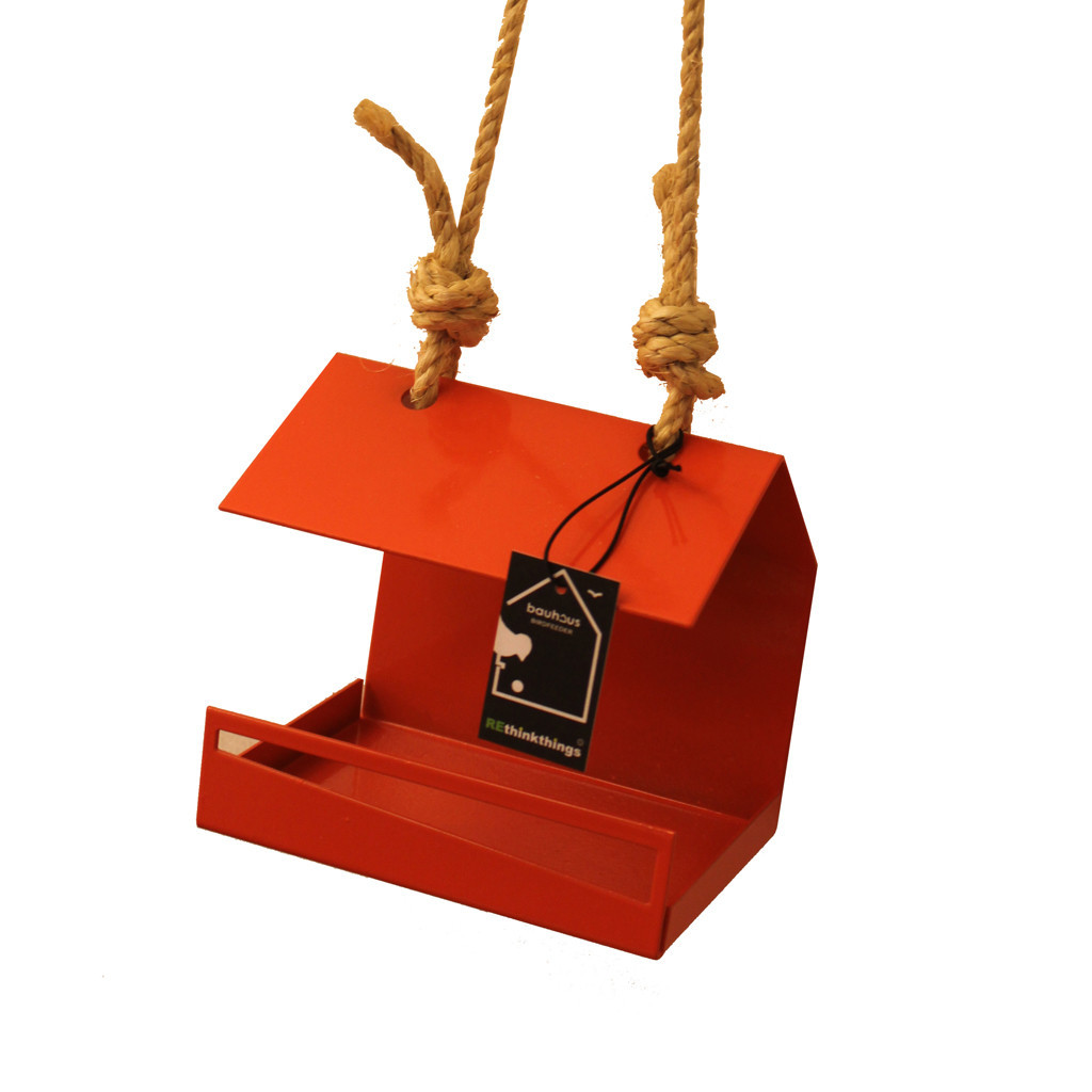 rethinkthings bauhaus orange bird feeder